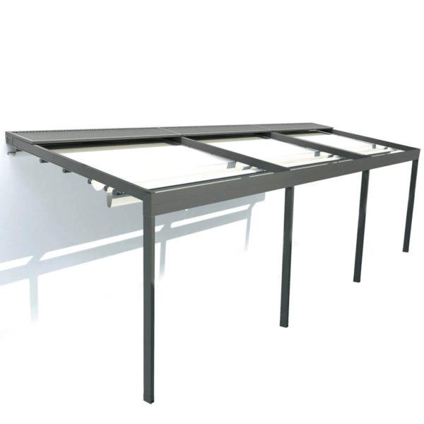 Triple Retractable Roof System 'Zerro Uniq' - Facade, Posts & Gutter included