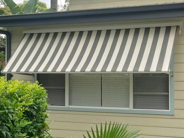 Grey & White Stripe Robusta Pivot Arm Awning