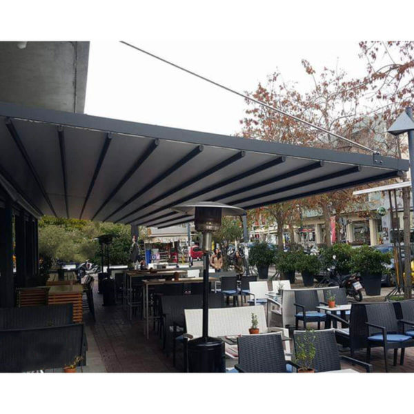 Photo of Zerro AIR retractable roof system over restaurant without posts