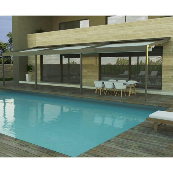 Render of Poolside Triple Zerro Uniq F retractable roof system