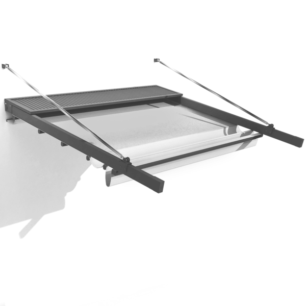 Illustration of partly retracted cantilevered Retractable Roof System in greyscale