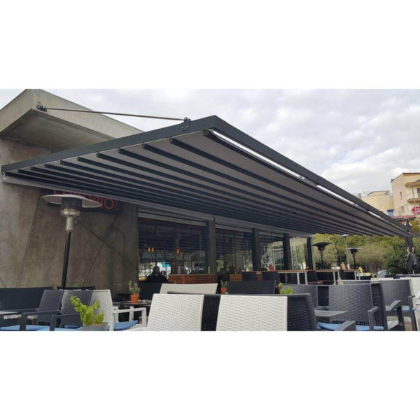 Photo of Zerro AIR retractable roof system over restaurant - No posts