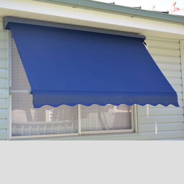 S2000 pivot arm awning with crank handle operation on weatherboard house over window.