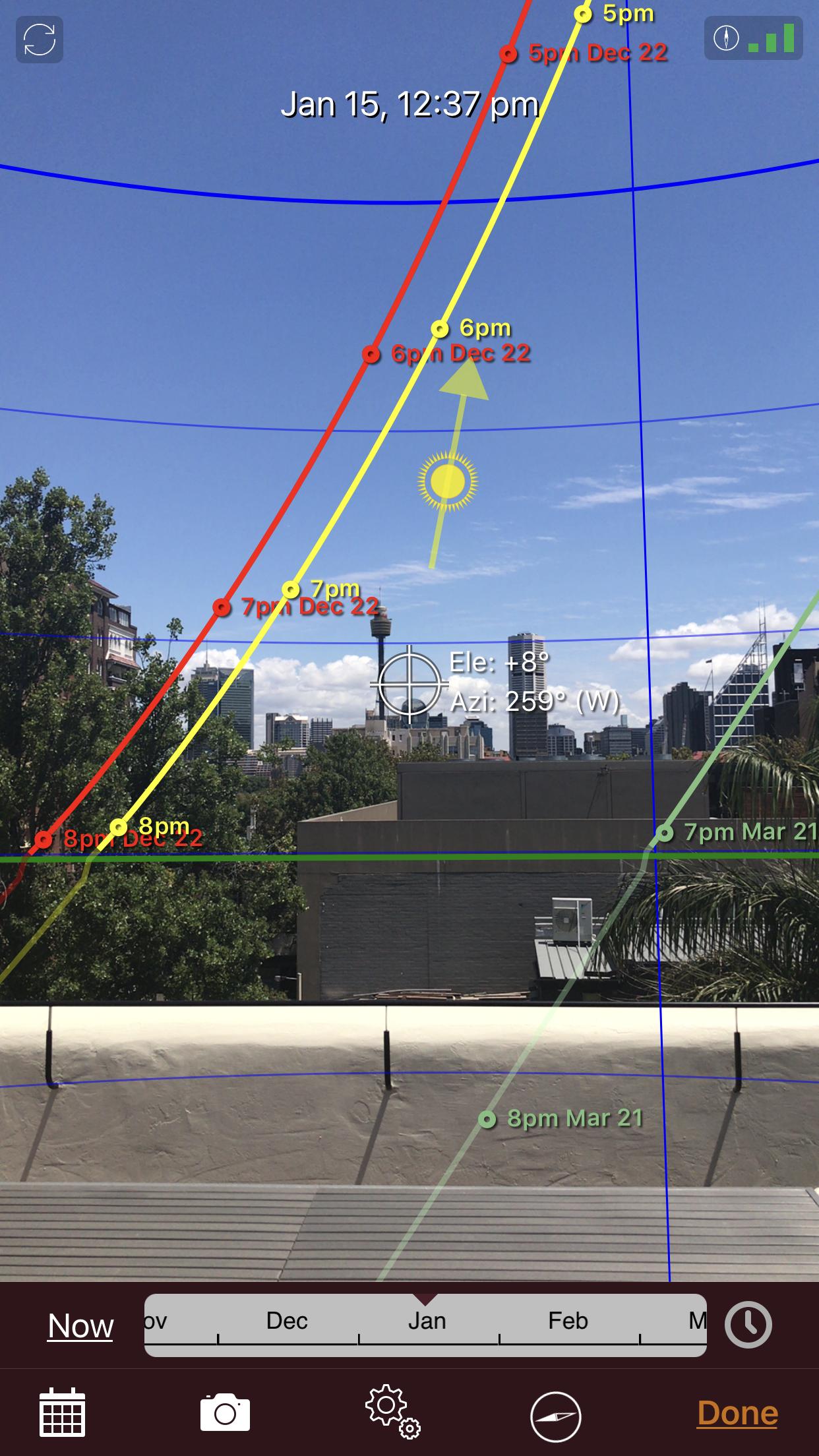 sun seeker app screenshot sydney eye tower