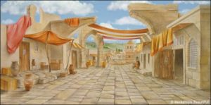 biblical marketplace with awnings